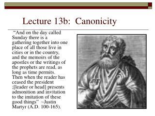 Lecture 13b:  Canonicity