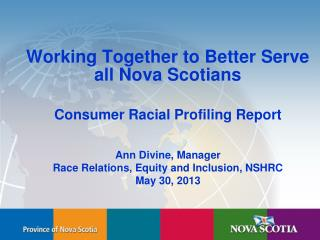 Working Together to Better Serve all Nova Scotians