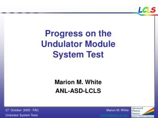 Progress on the  Undulator Module  System Test