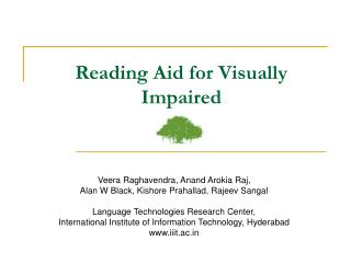 Reading Aid for Visually Impaired