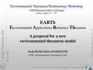 Institute for Atmospheric Pollution –  Environmental Terminology Unit