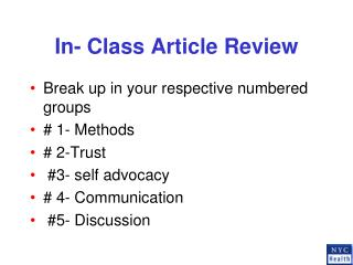 In- Class Article Review