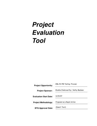 Project Evaluation  Tool