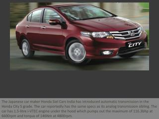 Honda adds a new automatic variant S-AT at Rs 9.09 lakhs