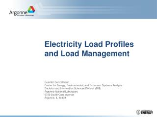 Electricity Load Profiles and Load Management
