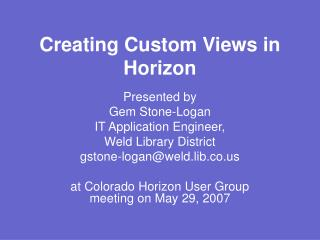 Creating Custom Views in Horizon