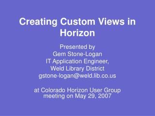Creating Custom Views in Horizon