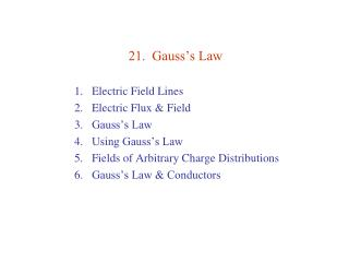 21.  Gauss's Law