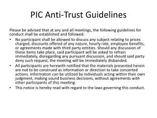PIC Anti-Trust  Guidelines
