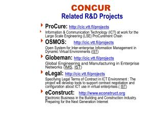 CONCUR Related R&D Projects