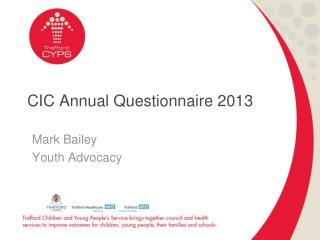 CIC Annual Questionnaire 2013