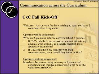 CxC Fall Kick-Off