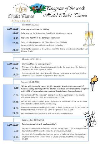 Program of the week Hotel Chalet Tianes
