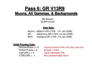 Pass 6: GR V13R9 Muons, All Gammas, & Backgrounds