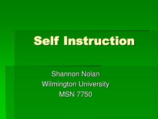 Self Instruction