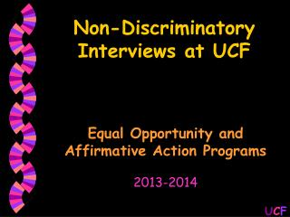 Non-Discriminatory Interviews at UCF