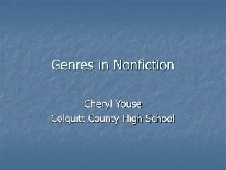 Genres in Nonfiction