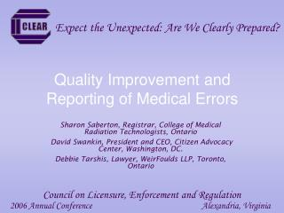 Quality Improvement and Reporting of Medical Errors