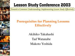 Prerequisites for Planning Lessons Effectively