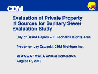 Evaluation of Private Property I/I Sources for Sanitary Sewer Evaluation Study