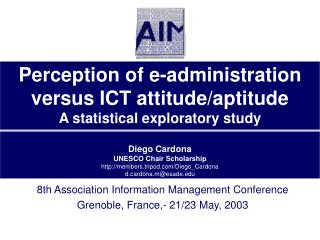 8th Association Information Management Conference Grenoble, France,- 21/23 May, 2003