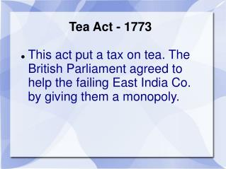 Tea Act - 1773