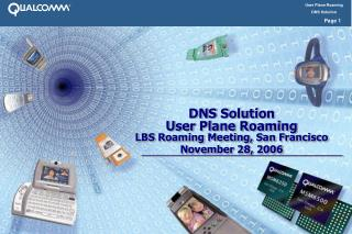 DNS Solution User Plane Roaming LBS Roaming Meeting, San Francisco  November 28, 2006