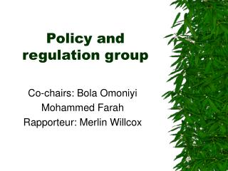Policy and regulation group