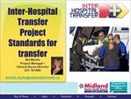Inter-Hospital Transfer  Project Standards for transfer