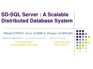 SD-SQL Server : A Scalable Distributed Database System