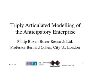 Triply Articulated Modelling of the Anticipatory Enterprise