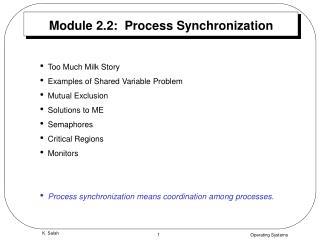 Module 2.2:  Process Synchronization