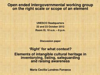 Open ended intergovernmental working group  on the right scale or scope of an element
