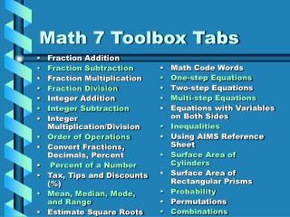 Math 7 Toolbox Tabs