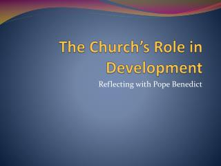 The Church's Role  in Development