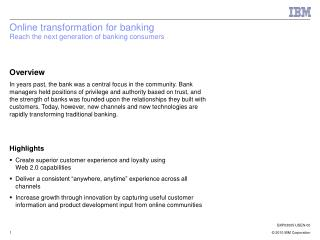 Online transformation for banking  Reach the next generation of banking consumers