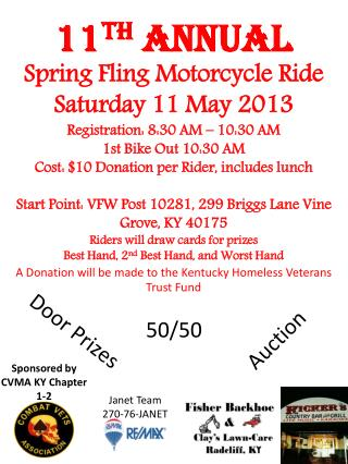 11 th  ANNUAL Spring Fling Motorcycle Ride Saturday 11 May 2013 Registration: 8:30 AM – 10:30 AM