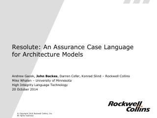 Resolute: An Assurance Case Language for Architecture Models