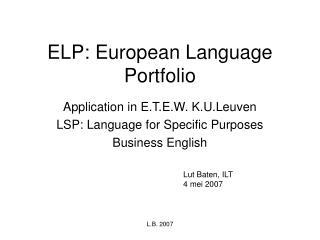 ELP: European Language Portfolio