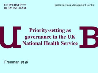 Priority-setting as governance in the UK National Health Service