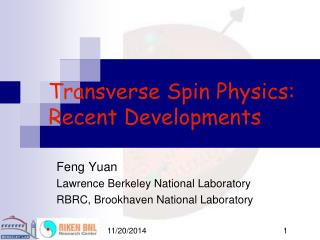 Transverse Spin Physics: Recent Developments