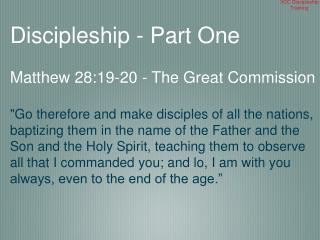 VCC Discipleship Training