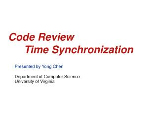 Code Review 	Time Synchronization