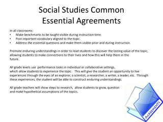 Social Studies Common Essential  A greements