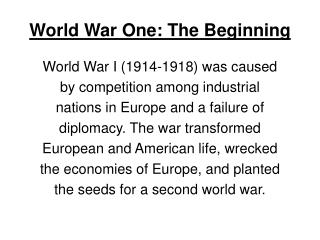 World War One: The Beginning