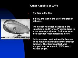 Other Aspects of WW1