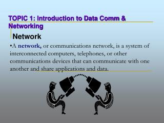 A network, or communications network, is a system of interconnected computers, telephones, or other communications devic