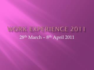 Work Experience 2011