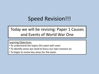 Speed Revision!!!
