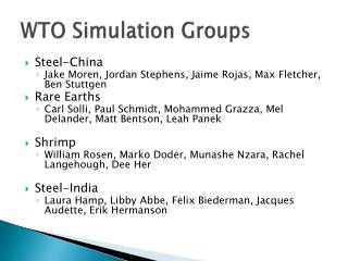 WTO Simulation Groups